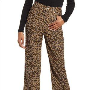 Ribcage Leopard Straight Leg Corduroy Pants